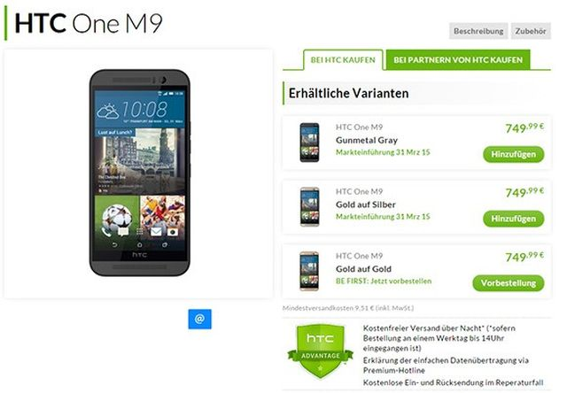 htc one m9 cena
