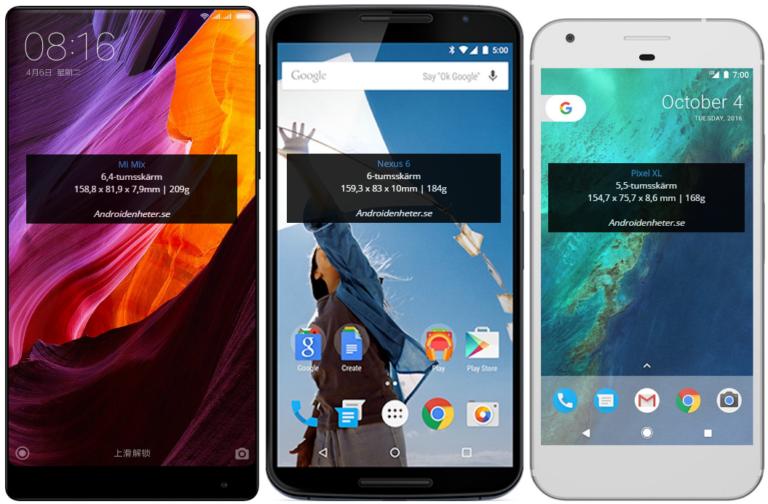 """Nexus 6 - 6"""" displej, rozmery 159,3 x 83 x 10 mm. Pixel XL - 5,5"""" displej, 154,7 x 75,7 x 8,6 mm"""