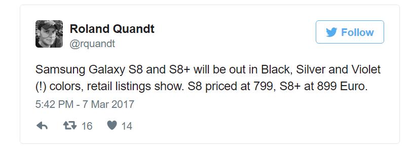 Galaxy S8 cena